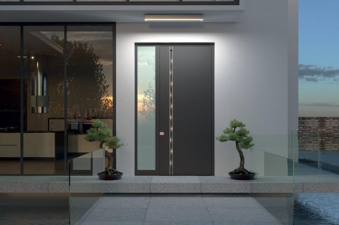 moderna aluminijasta vhodna vrata z obsvetlobo